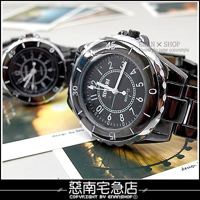 惡南宅急店【0203F】時尚陶瓷黑白款『甜蜜對禮錶』男錶女錶情侶錶。單款區
