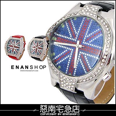 惡南宅急店~0262F~ 英國國旗款 中性~奧運光芒~可當情侶對錶 單支價