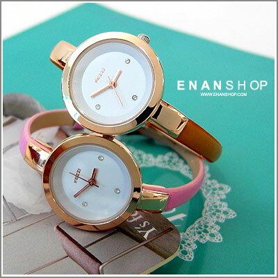 惡南宅急店【0461F】香港品牌KEZZI 細版皮革手錶水鑽 簡約極致女用錶(6色)