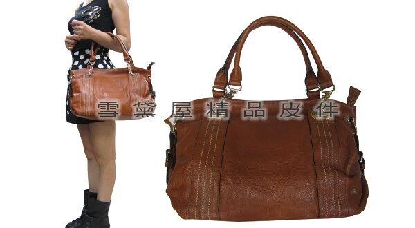~雪黛屋~ITALIDUCK手提肩斜背大容量主袋內二層台灣製造100%進口軟質牛皮革+棉質內裡布手提肩斜ID8121