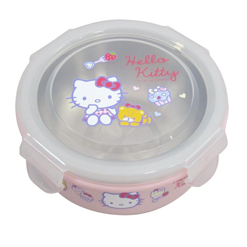 X射線【C168319】Hello Kitty樂扣環保碗(附湯匙),環保/餐盤/便當盒/不銹鋼/不鏽鋼/開學/卡通