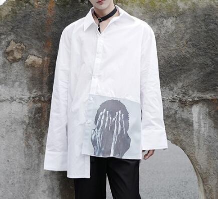 FINDSENSE Z1 韓國 時尚 潮 男 寬鬆大尺碼 下擺遮臉人臉印花 長袖襯衫 特色襯衫