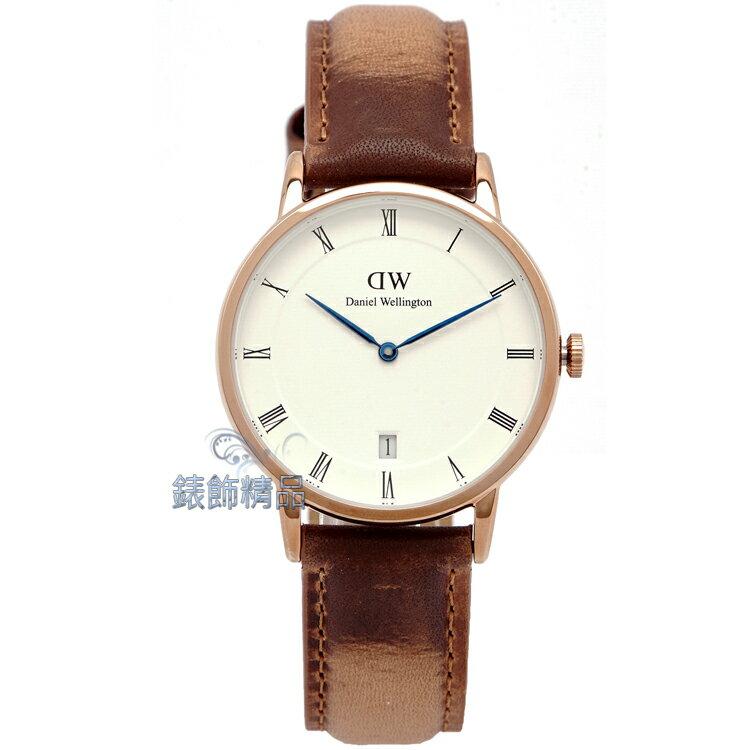 【錶飾精品】現貨 瑞典 DW 手錶 Daniel Wellington Dapper Durham DW00100113 34mm 玫瑰金 全新原廠正品