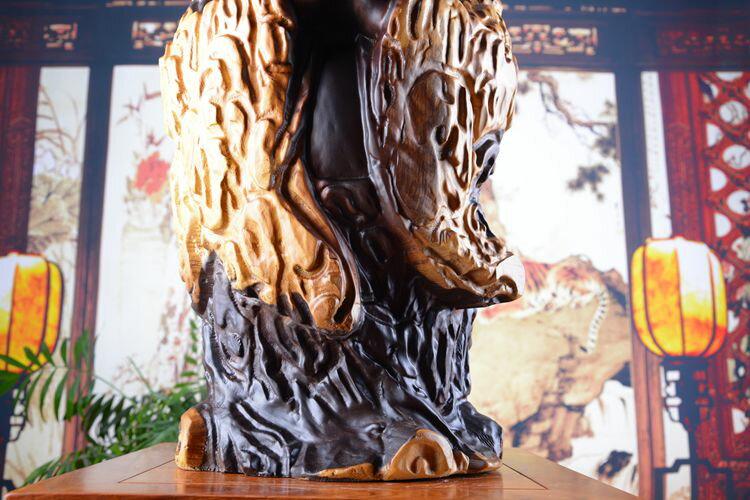 黑檀木雕彌勒招財笑佛木工藝品