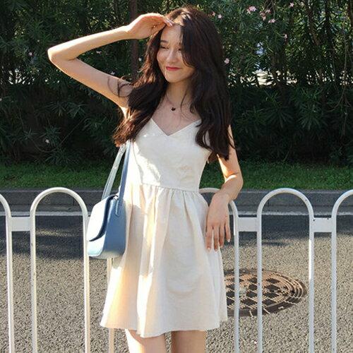 PS Mall 渡假風連身裙 V領露背交叉背心短洋裝【T703】 0
