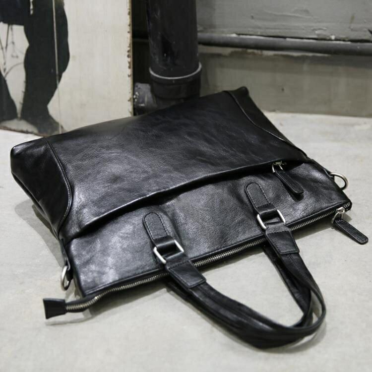 電腦側背斜背包公文韓版商務皮手提包男士潮流休閒簡約橫款yh