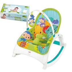 【奇買親子購物網】費雪牌 Fisher-Price 可攜式兩用震動安撫躺椅+Nac Nac 乾式嬰兒超柔細紗布毛巾80抽*1盒