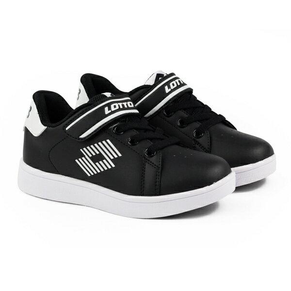 【巷子屋】義大利第一品牌-LOTTO童款1973經典網球鞋[6980]黑超值價$700