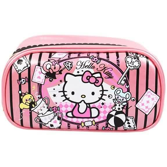 X射線【C764321】Hello Kitty 方型化妝包-魔術,美妝小物包/筆袋/面紙包/化妝包/零錢包/收納包/皮夾/手機袋/鑰匙包