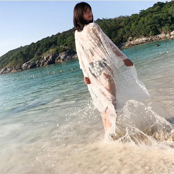 PSMall渡假透視輕盈長款寬袖防曬衣蕾絲衫罩衫上衣【T106】