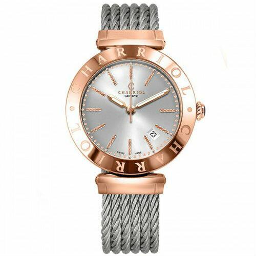CHARRIOL夏利豪(ALP.51.104)Alexandre C玫瑰金經典鋼索腕錶/40mm
