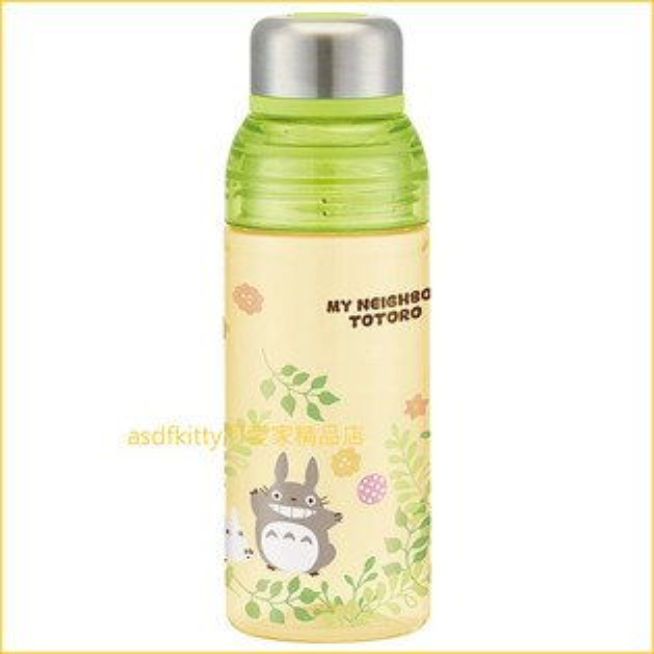 asdfkitty可愛家☆TOTORO龍貓黃綠色透明瓶身直飲水壺-480ML-日本正版商品