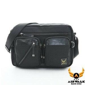 AIRWALK 頂級黑金皮標。閃靈系列。菱格針織紋 中容量 雙口袋城市機車中包【A431411720】閃靈黑【禾雅】