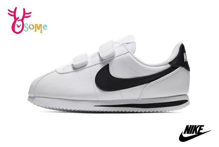 NIKE阿甘鞋 中童鞋 現貨 正版 Cortez Basic SL (PSV)復古慢跑鞋O7262#白黑 奧森