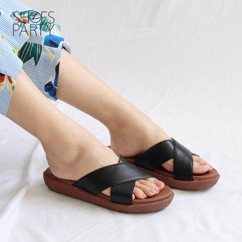 【S2-18708L】Simple+雙帶交叉漢堡底拖鞋_Shoes Party 4