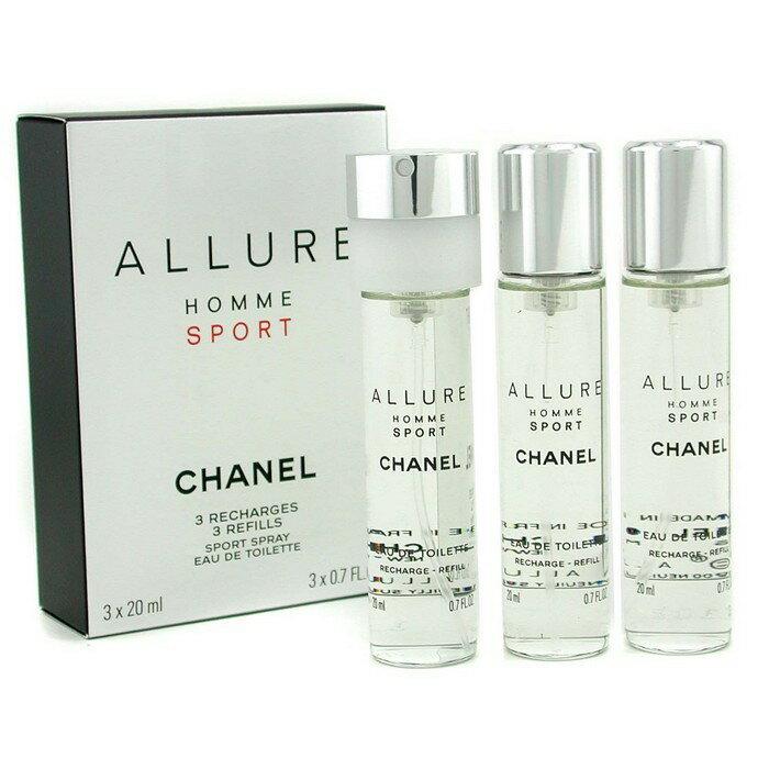 Chanel 香奈兒 香奈兒ALLURE男性運動淡香水 旅行補充裝 (3支)Allure Homme Sport Eau De Toilette Travel Spray Refills 3x20ml..