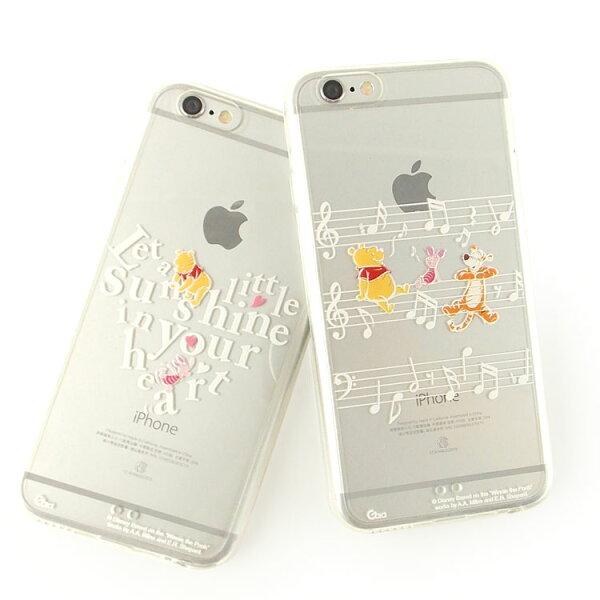 【Disney】iPhone6plus彩繪金色珠光白透明雙料保護殼-維尼系列