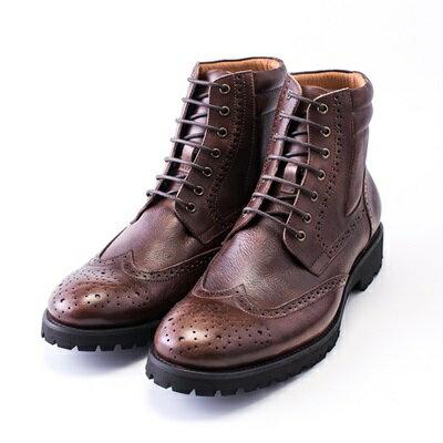 中筒靴真皮繫帶靴子-巴洛克雕花復古機車男靴2色73kk14【獨家進口】【米蘭精品】