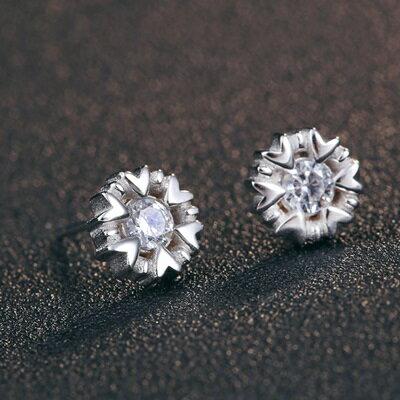 925純銀耳環鑲鑽耳飾~ 雪花 生日情人節 女飾品73dy72~ ~~米蘭 ~