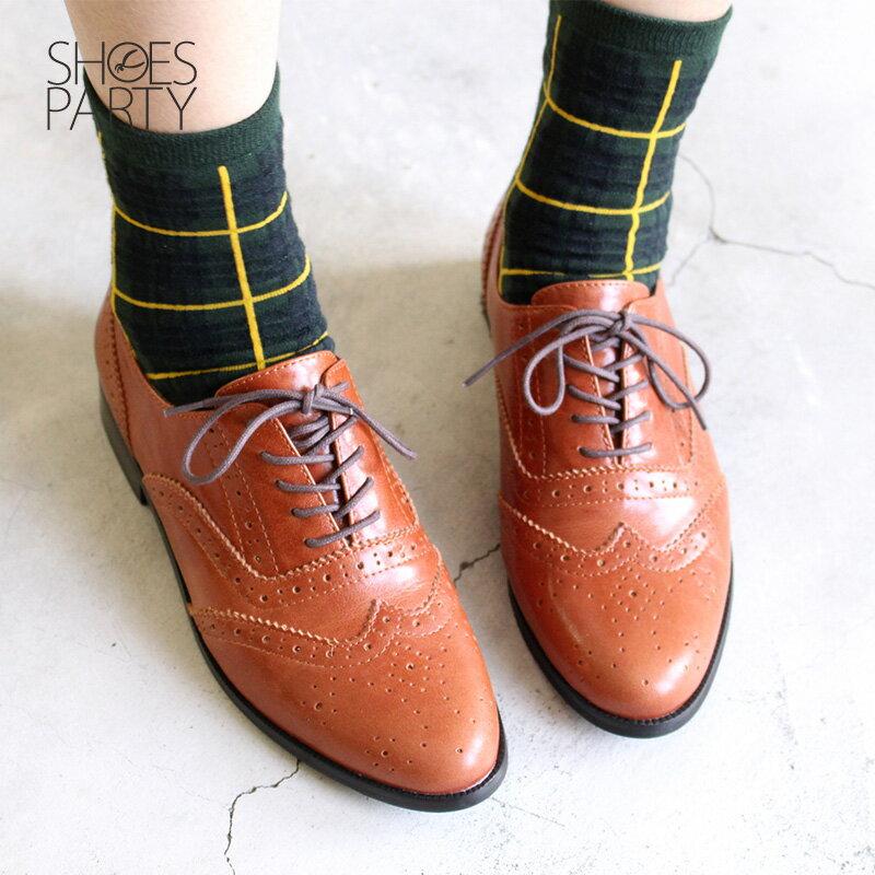 【C2-17121L】外尖內圓真皮綁帶牛津鞋_Shoes Party 1