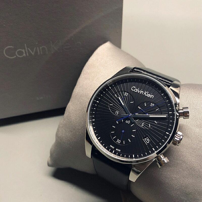 美國百分百【全新真品】Calvin Klein 個性黑色錶面 三眼計時 皮質錶帶 手錶 腕錶 石英錶 瑞士製造 BA65