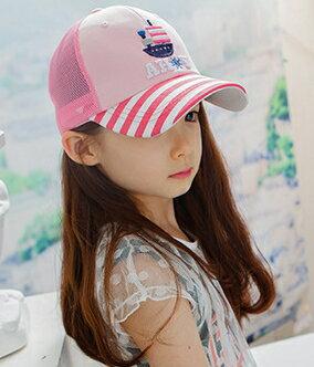 Kocotree◆時尚立體船帆質感刺繡條紋透氣網頂兒童休閒鴨舌棒球帽網帽-粉色