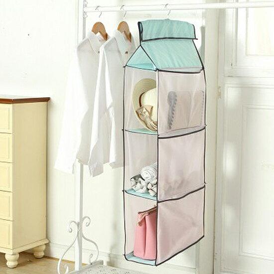 ♚MY COLOR♚可視化多層掛袋 櫥櫃 衣架 包包 收納 懸掛 衣櫃 分格 夾層 魔鬼氈 分類【Y66】