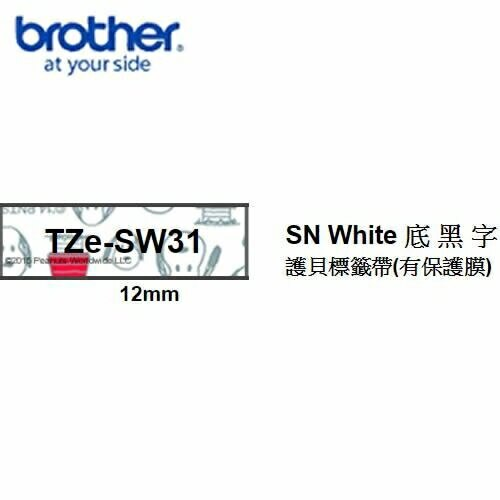 Brother TZe-SW31 SNOOPY White底黑字 12mm 護貝標籤帶