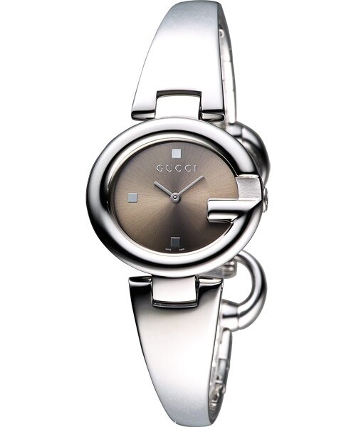 Gucci YA134503經典G型手環時尚腕錶/咖啡面27mm