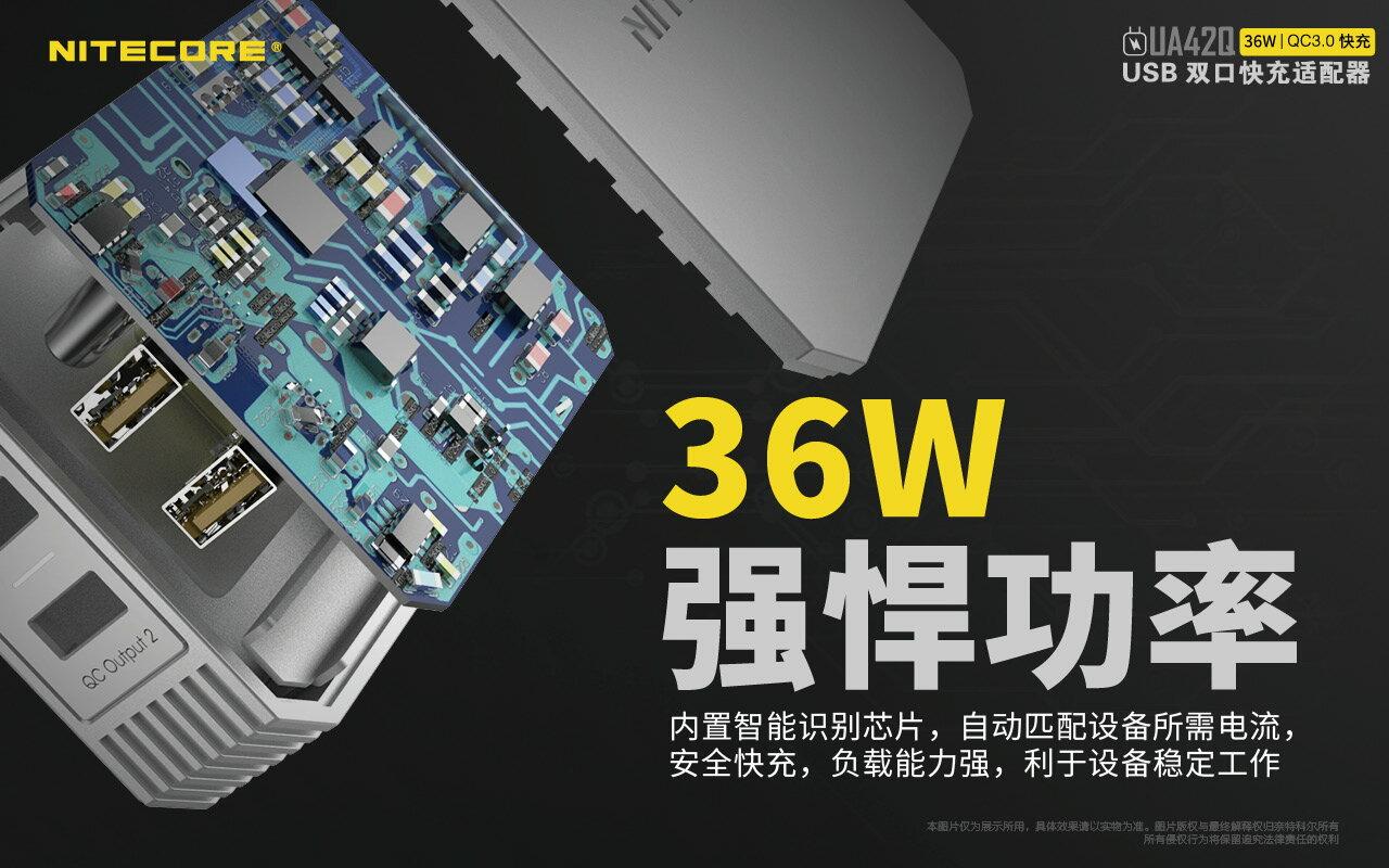 Nitecore UA42Q QC3.0快充 2 port USB 快速充電器 公司貨 最大36W USB電源供應器 5