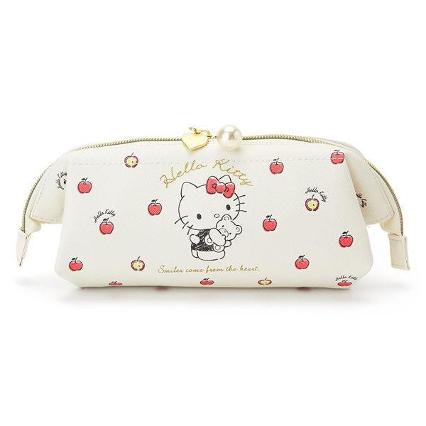 日本kitty筆袋收納袋化妝包T字蘋果924518