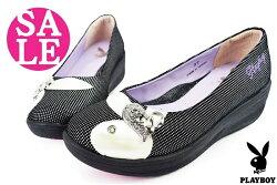 PLAYBOY真皮成人女款 台灣製 雅緻心鑽厚底休閒鞋 零碼出清 H9150#黑◆OSOME奧森鞋業