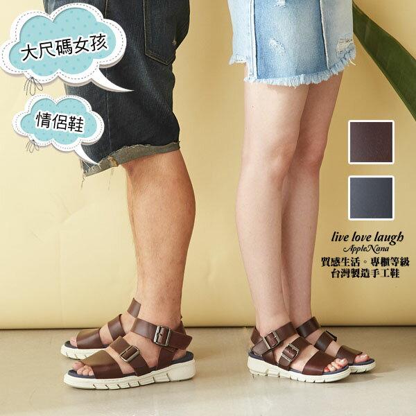 大尺碼。情侶款乾爽夏日型男羅馬氣墊涼鞋【QT60531580】AppleNana蘋果奈奈