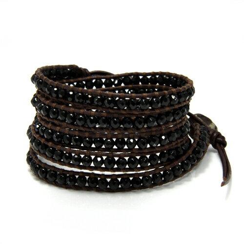 【CHANLUU】濃情巧克力黑瑪瑙皮繩手環5圈(CL-BS-1289O)