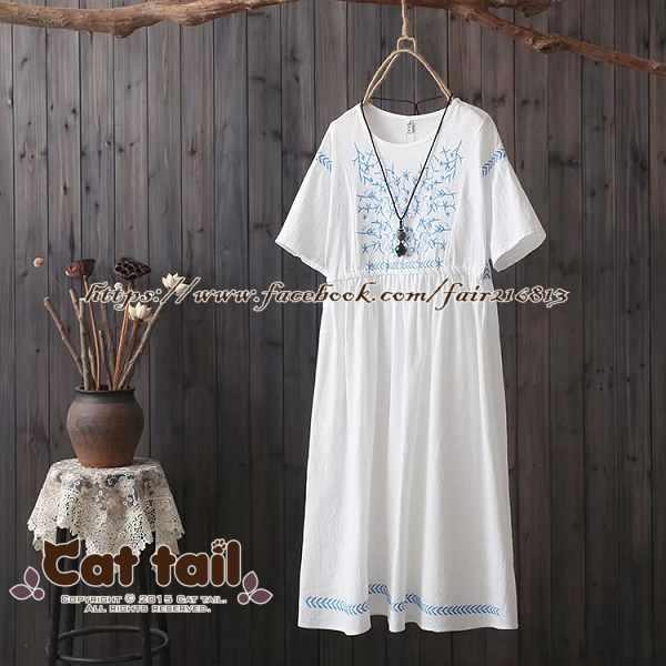 《貓尾巴》CH-01943民族風文藝刺繡短袖連身裙(森林系日系棉麻文青清新)