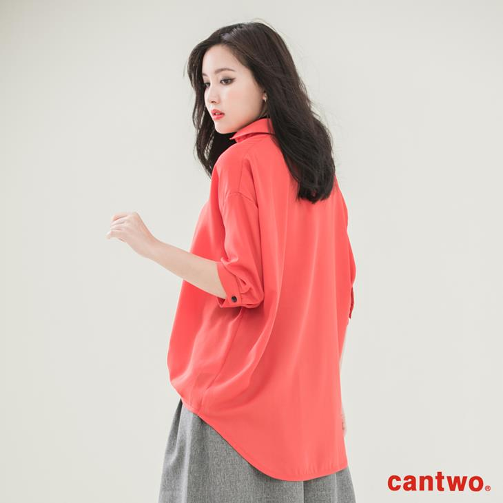 cantwo弧襬五分袖雪紡襯衫(共三色) 3
