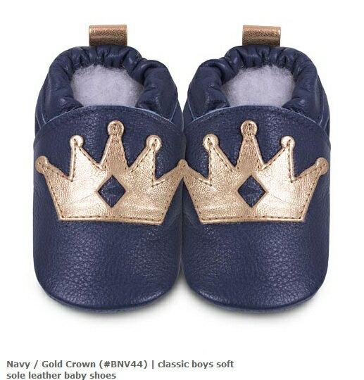 【HELLA 媽咪寶貝】英國 shooshoos 安全無毒真皮手工鞋/學步鞋/嬰兒鞋_海軍藍/金色皇冠(公司貨)
