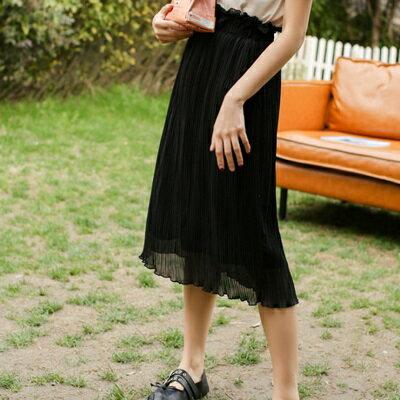半身裙雪紡中長裙-優雅清新高腰百摺女裙子2色73rw34【獨家進口】【米蘭精品】