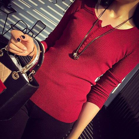 PS Mall V領套頭毛衣鈕扣系扣修身顯瘦長袖打底針織衫~T4418~ ~  好康折扣