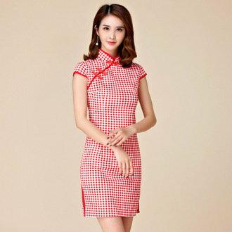 天使嫁衣【J2K9880】紅色經典格紋修身中國風復古短袖旗袍禮服˙現貨