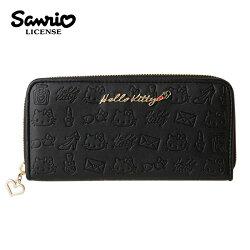 【日本正版】凱蒂貓 皮革壓紋 長夾 皮夾 錢包 Hello Kitty 三麗鷗 Sanrio - 249871