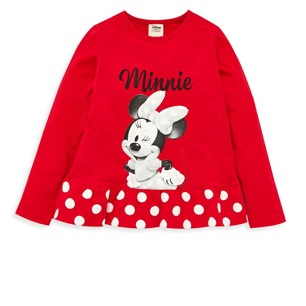 Disney 米妮系列小甜心荷葉上衣-紅色 - 限時優惠好康折扣