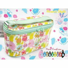 日本正版 BARBAPAPA 泡泡先生 夏威夷風格 防水 提把 盥洗包 化妝包 筆袋 (小)