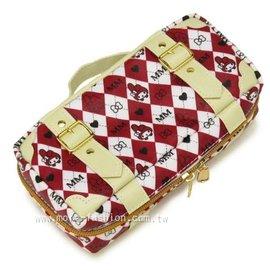 日潮夯店 日本正版 Melody 美樂蒂 紅色格子紋  手提包造型 旅行箱 外防水  筆袋 化妝包