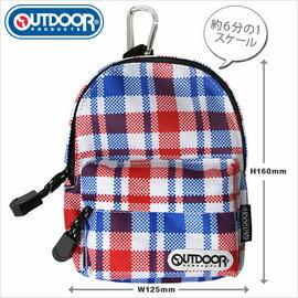 日潮夯店 日本正版 OUTDOOR Backpack 1:6  可愛小巧後背包 筆袋 化妝包 收納袋 藍紅格紋款