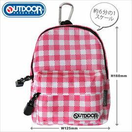 日潮夯店 日本正版 OUTDOOR Backpack 1:6  可愛小巧後背包(可當 筆袋 化妝包 收納袋 ) 粉紅格紋 款