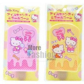 日本正版進口 Hello Kitty凱蒂貓 冰淇淋/冰棒 造型 隨身鏡子+隨身小扁梳 超完美組合 粉黃色/粉紅色