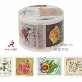 日潮夯店 日本正版 Aimez le style 3.8cm 粗 紙膠帶 VINTAGE STAMP 郵票 款