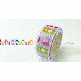 日潮夯店 日本正版 日本製 PRIME NAKAMURA花邊造型 和紙 膠帶 花邊帶 彩色小熊款