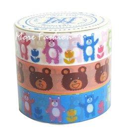 日潮夯店 日本正版 Prime Nakamura 塑膠 PP  膠帶 三捲一組 裝飾 花邊_彩色 小熊 款